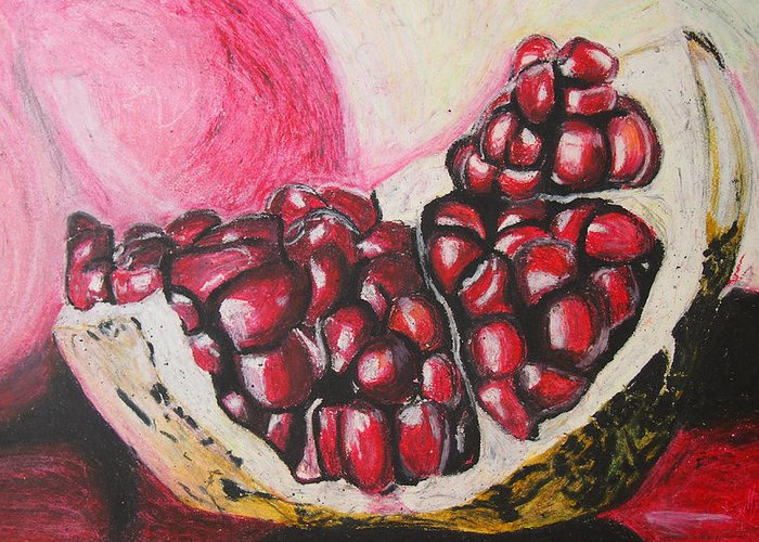 Pomegranate Greeting Card featuring the painting Sweet Pomegranate by Michael Amos