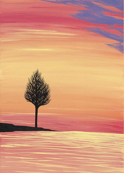 Sweet Greeting Card featuring the painting Sweet Raspberry Sunset by Melissa F Kaelin