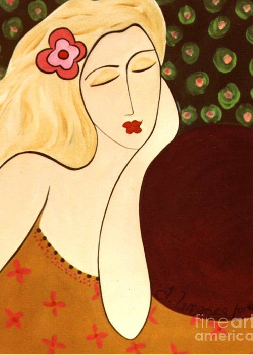 #female #figurative #floral Greeting Card featuring the painting Sweet Sixteen by Jacquelinemari