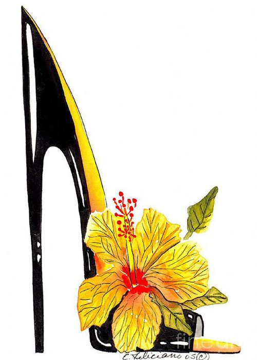Elena Feliciano Art Greeting Card featuring the painting Sweetheart Hibiscus Stiletto by Elena Feliciano