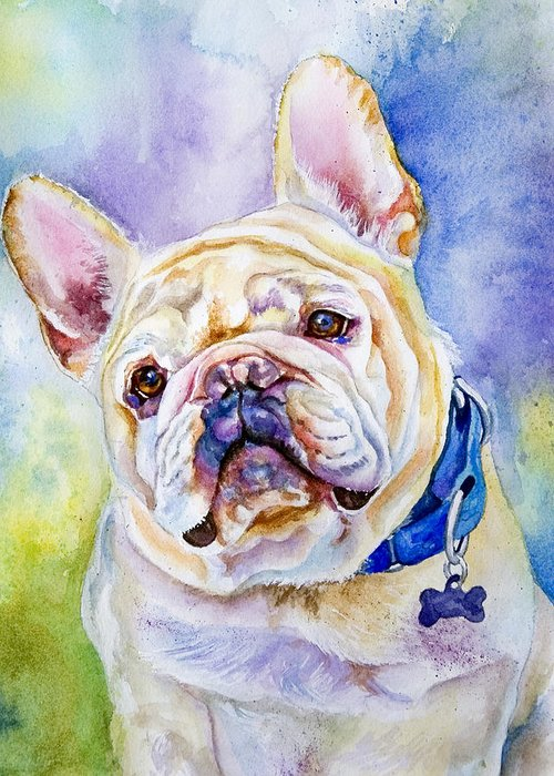 French Bulldog Greeting Card featuring the painting Sweetie Pie by Janine Hoefler