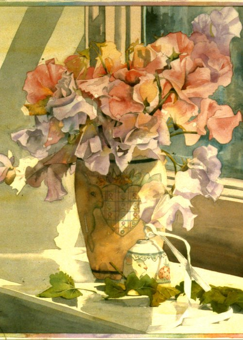 Julia Rowntree Greeting Card featuring the photograph Sweetpea On The Windowsill by Julia Rowntree