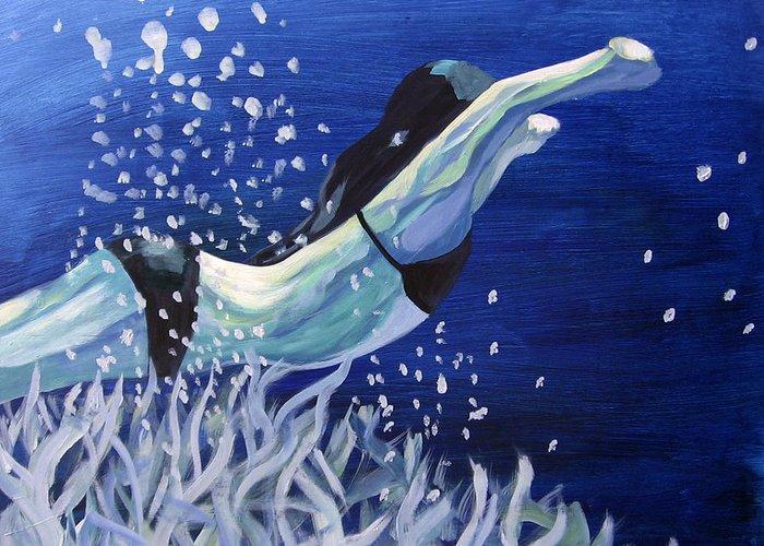 Swim Greeting Card featuring the painting Swim by Ingrid Torjesen