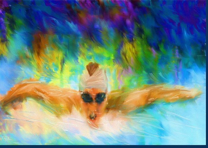 Swimming Greeting Card featuring the digital art Swimming Fast by Lourry Legarde