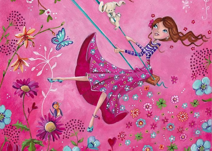 Fairy Hearts Pink Flower Paintings Greeting Cards