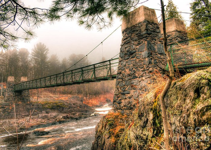Swinging Bridge Greeting Card featuring the photograph Swinging Bridge Before The Storm by Ever-Curious Photography