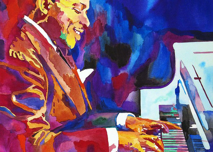 Count Basie Greeting Card featuring the painting Swinging With Count Basie by David Lloyd Glover