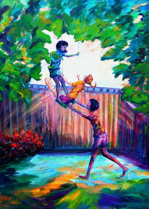 Kids Having Fun Greeting Card featuring the painting Swinging With Friends by Naomi Gerrard