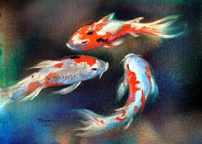 Koi Greeting Card featuring the painting Swirl Of Color by Spencer Meagher