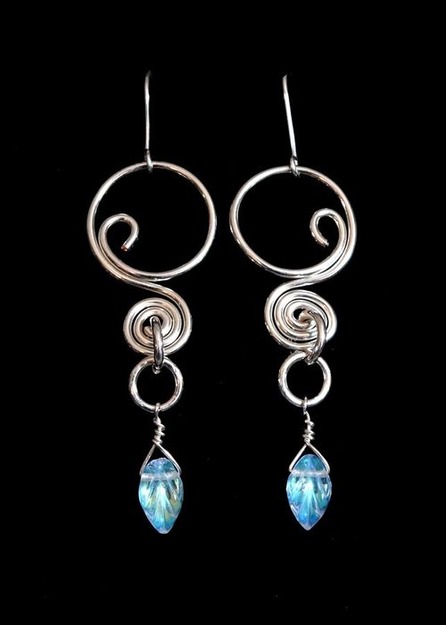 Earrings Greeting Card featuring the jewelry Swirl With Leaves 139 by Jan Brieger-Scranton