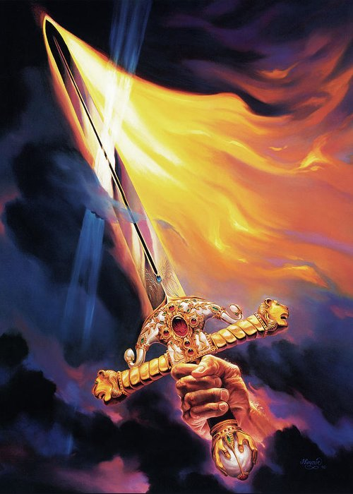 Jeff Haynie Greeting Card featuring the painting Sword Of The Spirit by Jeff Haynie
