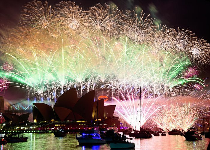 Fireworks Greeting Card featuring the photograph Sydney Fireworks - Finale by Rick Drent
