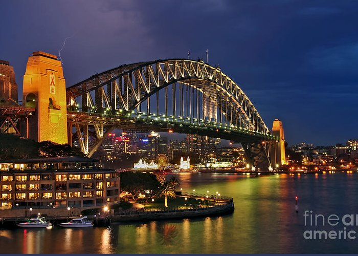 Photography Greeting Card featuring the photograph Sydney Harbour Bridge By Night by Kaye Menner
