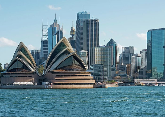 Built Structure Greeting Card featuring the photograph Sydney Opera House And Waterfront by Marco Simoni