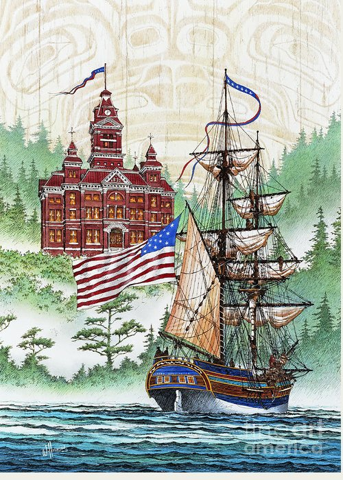 Tall Ship Print Greeting Card featuring the painting Symbols Of Our Heritage by James Williamson