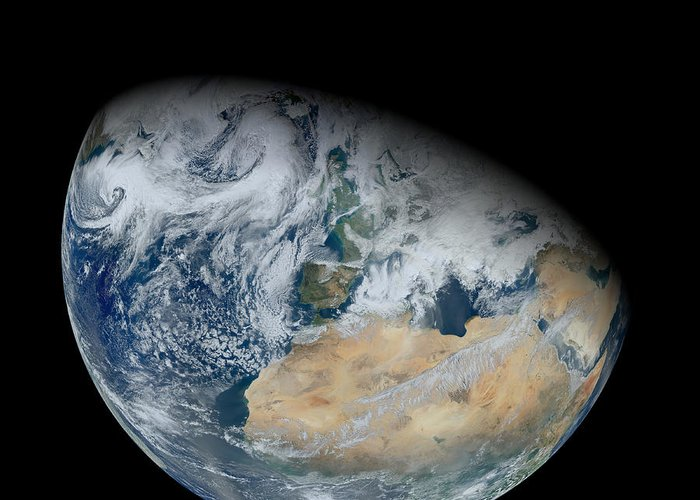 Partial Greeting Card featuring the photograph Synthesized View Of Earth Showing North by Stocktrek Images