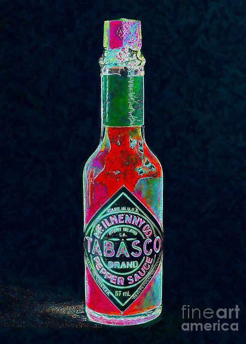 Wingsdomain Greeting Card featuring the photograph Tabasco Sauce 20130402 by Wingsdomain Art and Photography