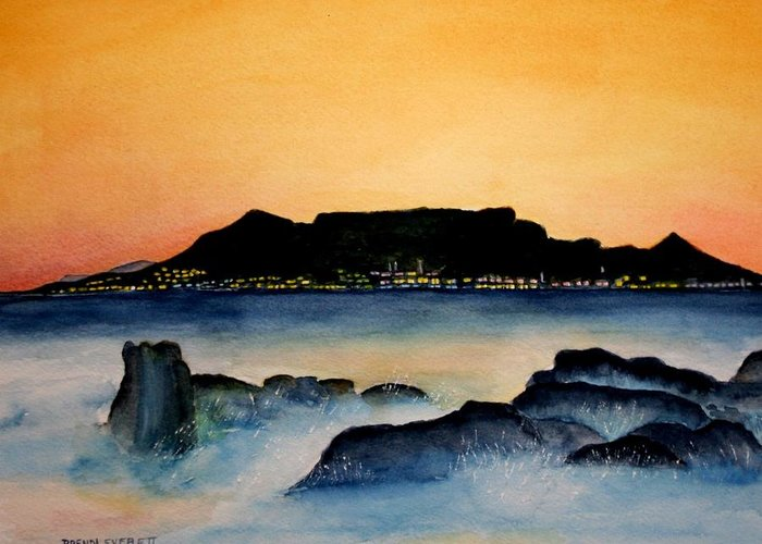Ocean Greeting Card featuring the painting Table Mountain by Brenda Everett