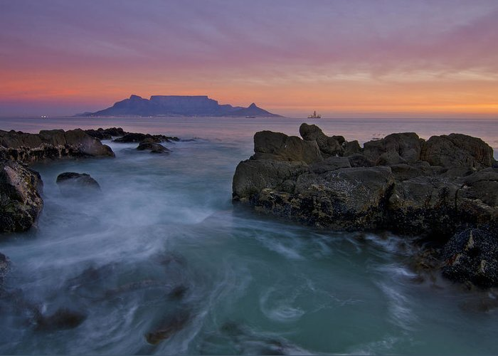Table Mountain Greeting Card featuring the photograph Table Mountain Sunset by Aaron Bedell