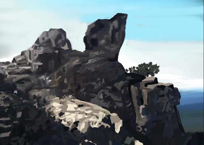 Active Greeting Card featuring the digital art Table Rock Calistoga California by Naomi Richmond