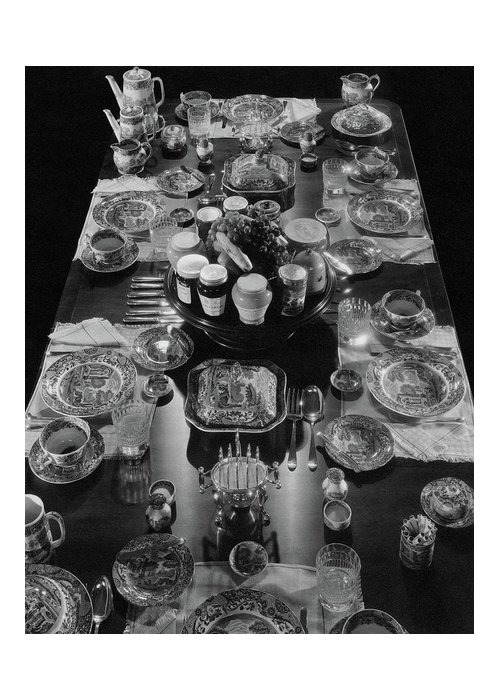 Interior Greeting Card featuring the photograph Table Settings On Dining Table by The 3