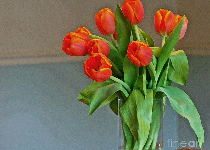 Tulips Greeting Card featuring the photograph Table Top Tulips by Laura Mace Rand