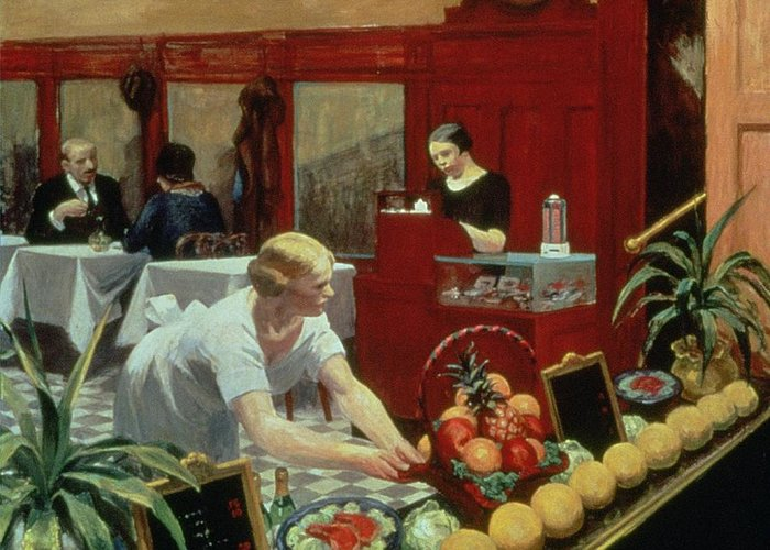 Edward Hopper Greeting Card featuring the painting Tables For Ladies by Edward Hopper