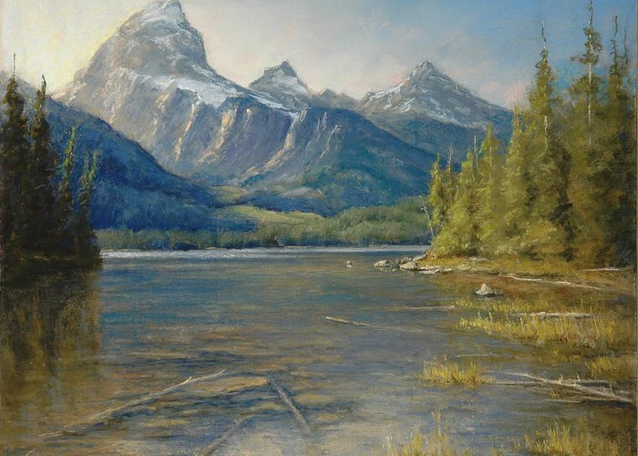 Pastel Greeting Card featuring the painting Taggart Lake Shallows by Gary Huber