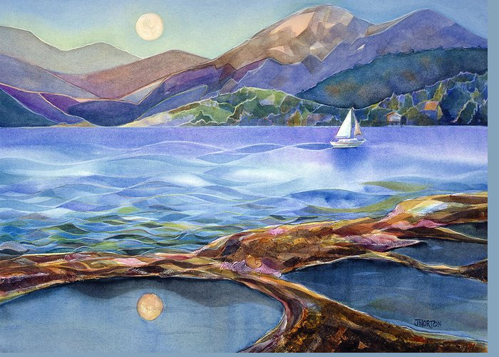 Jen Norton Greeting Card featuring the painting Tahoe Tides by Jen Norton