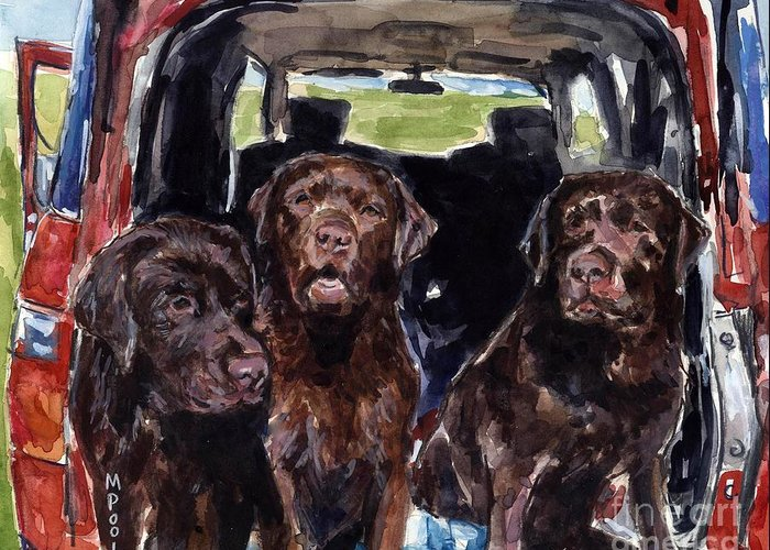 Chocolate Labrador Retrievers Greeting Card featuring the painting Tailgaters by Molly Poole