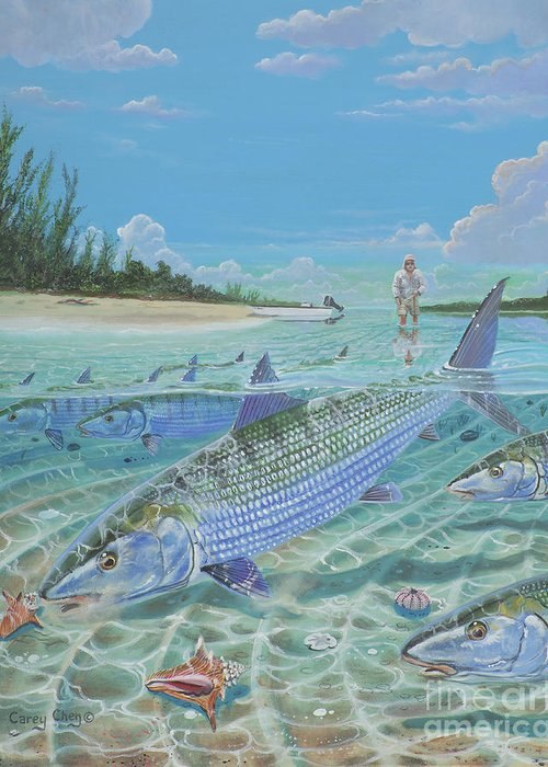 Bonefish Greeting Card featuring the painting Tailing Bonefish In003 by Carey Chen