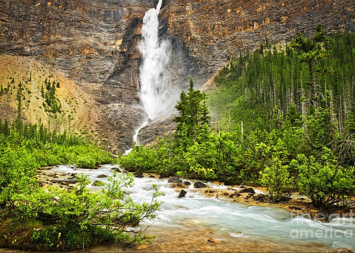 Takakkaw Falls Greeting Card featuring the photograph Takakkaw Falls Waterfall In Yoho National Park Canada by Elena Elisseeva