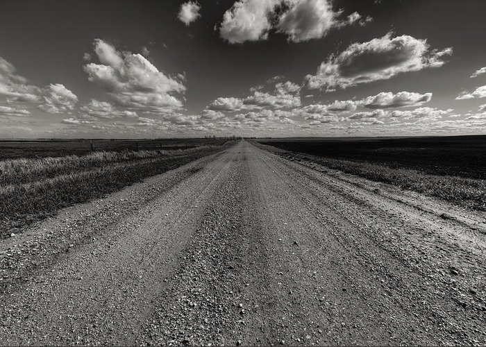 Suth Dakota Greeting Card featuring the photograph Take A Back Road Bnw Version by Aaron J Groen
