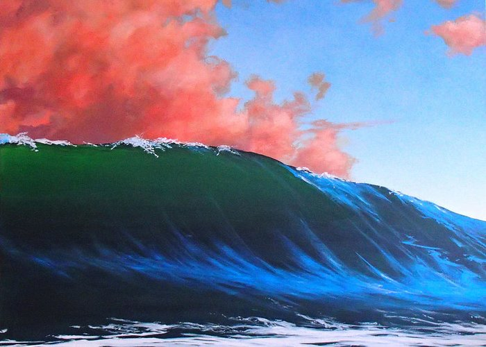 Wave Greeting Card featuring the painting Take a left at Sunset by Philip Fleischer