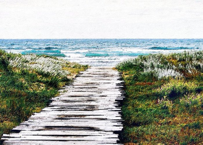 Wood Greeting Card featuring the painting Take Me To The Sea by Florian Rodarte