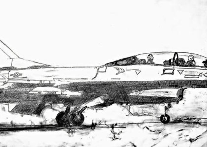 F16 Greeting Card featuring the drawing Take Off F-16 by Theresa Hudson