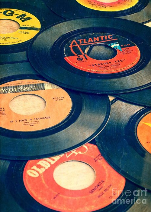 45s Greeting Card featuring the photograph Take Those Old Records Off The Shelf by Edward Fielding