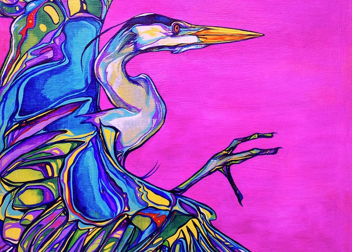 Heron Paintings Greeting Card featuring the painting Taking Flight by Derrick Higgins