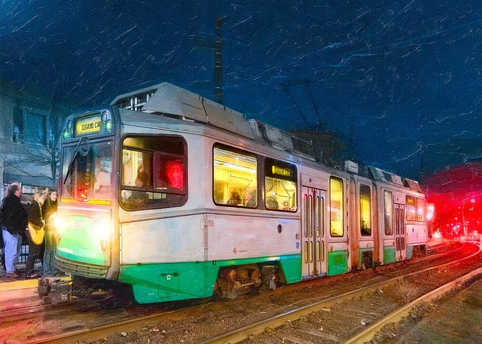 Green Line Train Greeting Card featuring the photograph Taking The T At Night In Boston by Mark E Tisdale