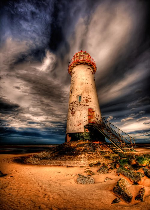Beach Greeting Card featuring the photograph Talacre Lighthouse by Adrian Evans