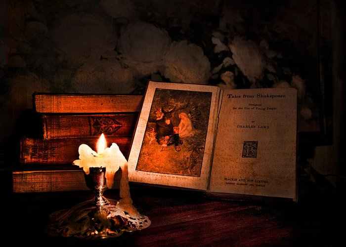 Vintage Still Life Greeting Card featuring the photograph Tales From Shakespeare by Theresa Tahara