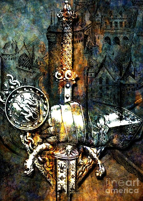 Knights Greeting Card featuring the mixed media Tales Of Chivalry by Tammera Malicki-Wong