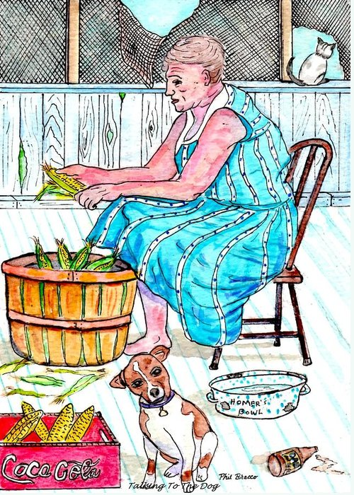 Talking To The Dog Greeting Card featuring the painting Talking To The Dog - Sitting On The Front Porch by Philip Bracco
