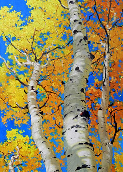 Fall Aspen Greeting Card featuring the painting Tall Aspen Trees by Gary Kim