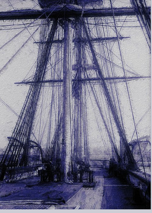 Tall Greeting Card featuring the painting Tall Ship 2 by Jack Zulli