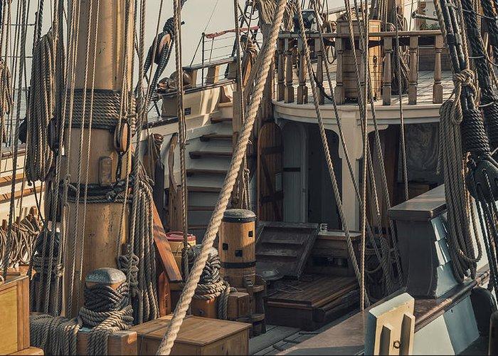 Tall Greeting Card featuring the photograph Tall Ship Kalmar Nyckel Ropes by Dapixara Art