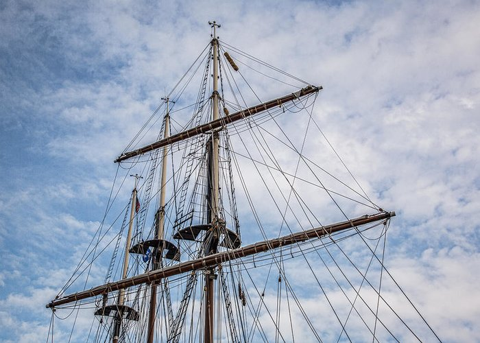 Tall Ship Masts Greeting Card featuring the photograph Tall Ship Masts by Dale Kincaid