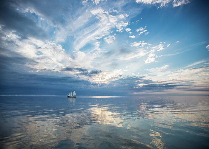 Tranquility Greeting Card featuring the photograph Tall Ship On The Big Lake by Rudy Malmquist