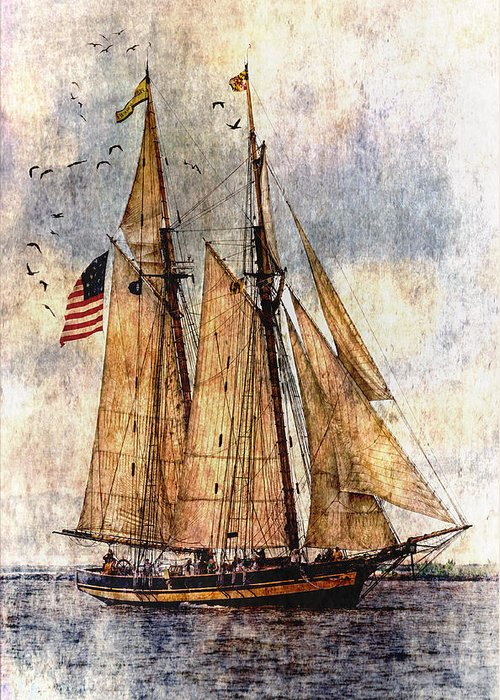 Pride Of Baltimore Ii Greeting Card featuring the digital art Tall Ships Art by Dale Kincaid