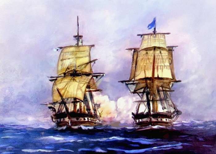 11 July Greeting Card featuring the painting Tall Ships Uss Essex Captures Hms Alert by Bob and Nadine Johnston